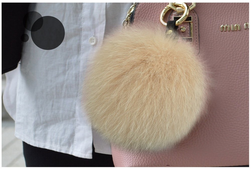 Crazy Cart Genuine Fox Fur Ball Large 4.7 Charm Key Chain Blue