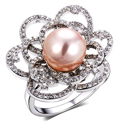 PSRINGS Ladies Copper ring rhodium plated with Cubic zircon imitation Rings designer jewelry 6.0