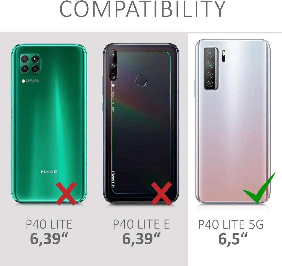 Carcasa de TPU Silicona Protector Trasero en Negro Mate kwmobile Funda Compatible con Huawei P40 Lite 5G