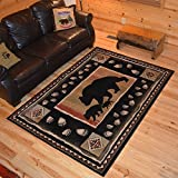 Cheap Rug Empire Rustic Lodge Bear Take the Lead Cabin Black Area Rug (7'10 x 9'10)