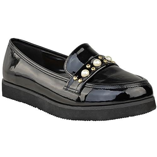 Donna Basse pianta rampicante SUOLA DOPPIA DA LAVORO SCUOLA DOLLY Mocassini  perla scarpe - nero vernice cb6c1a62437