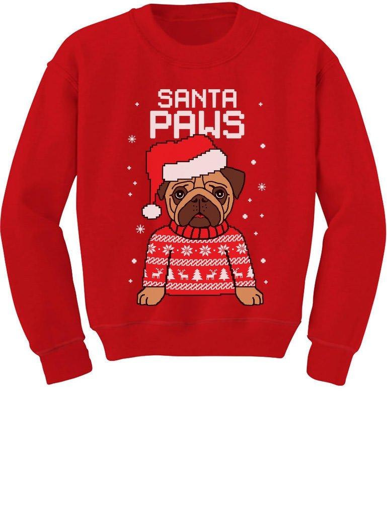 TeeStars - Santa Paws Pug Ugly Christmas Sweater Dog Youth Kids Sweatshirt GtPtP3hgfm