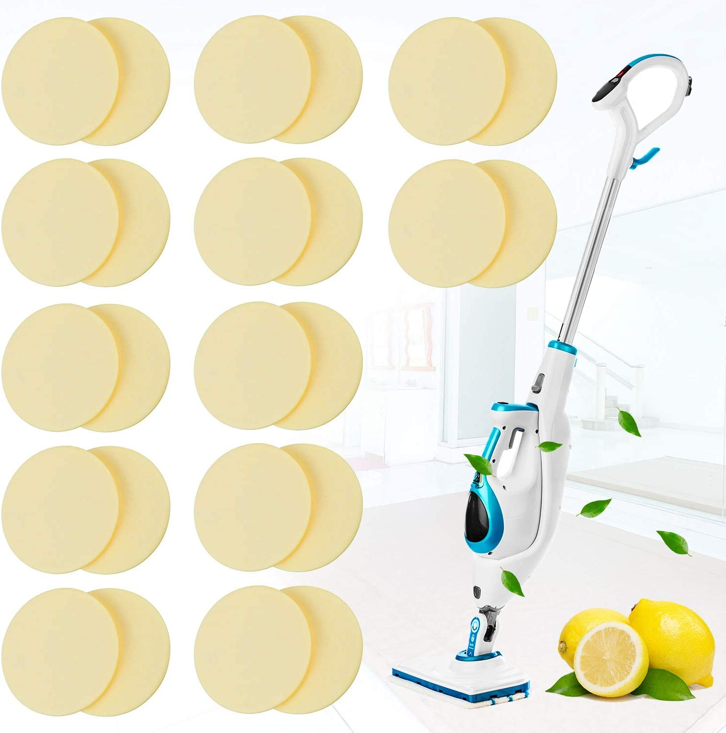 24 Pack Replacement Steam Mop Scent Discs Steam Mop Fragrance Discs Pads Compatible with Bissell Powerfresh and Symphony Series Fits Model 1940, 1806 and 1132, Lemon Fresh Fragrance