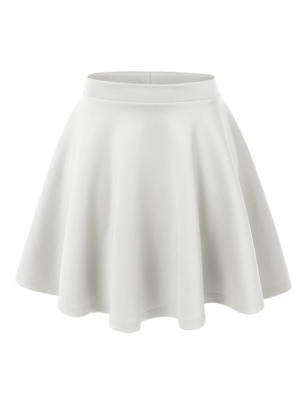 UU Fashion Womens Plus Size Basic Versatile Stretchy Flared Skater Skirt (2X, WB1034_White)