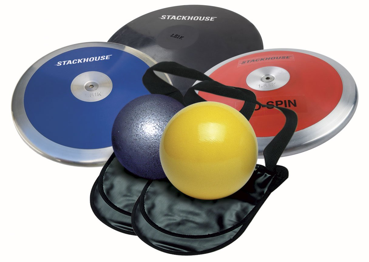 Girls Track and Field Throw Pack for High School. Package includes 2 - 4 k shot puts, 3 - 1 kg discus and 2 carry bags. Perfect for competition and practice.