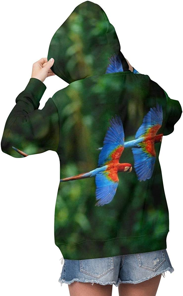 Novelty Sweatshirts Tops with Kangaroo Pockets for Girls Women Macaws 51