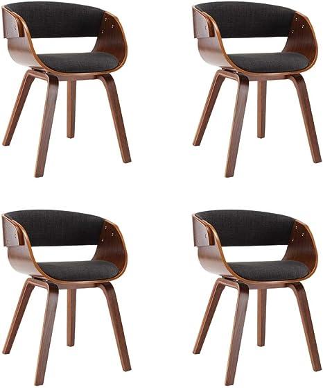Vidaxl 4 X Wooden Frame Dining Room Chairs Kitchen Dining Chairs Dining Room Chairs Dining Room Chairs Living Room Home Office Fabric Grey Amazon De Kuche Haushalt