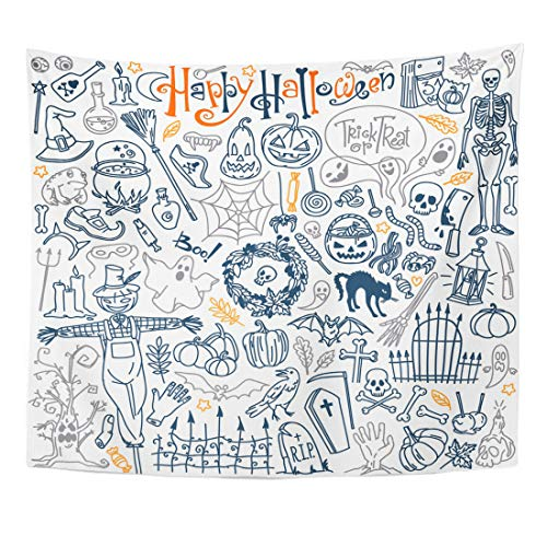 Emvency Tapestry Halloween Doodle Traditional and Popular Symbols Carved Pumpkin Party Costumes Witches Ghosts Monsters Home Decor Wall Hanging for Living Room Bedroom Dorm 60x80 Inches