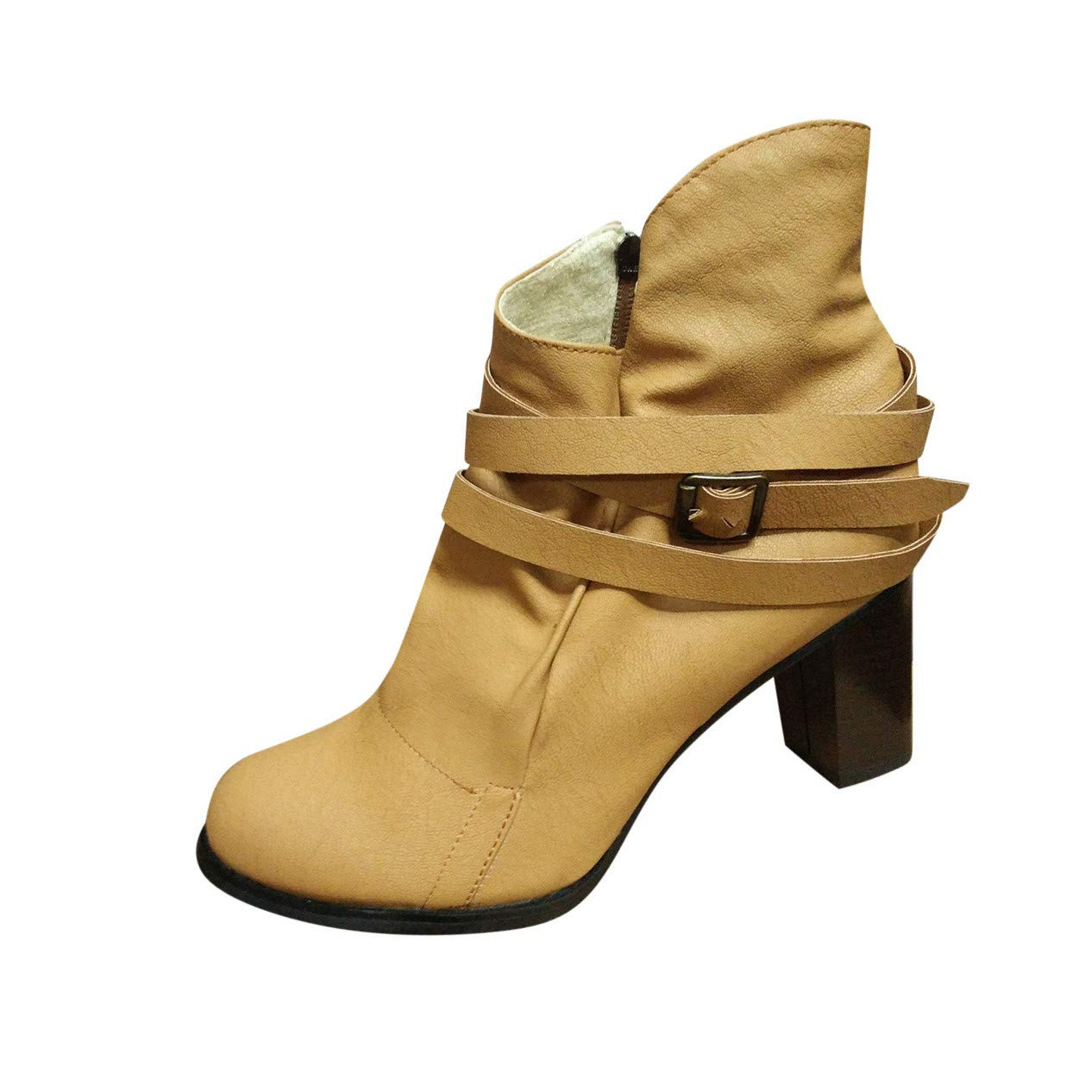 Appoi Women Shoes Womens Mid Chunky Heel Short Boot Fashion Comfortable Slip on Buckle Strap Booties (US:6, Yellow)