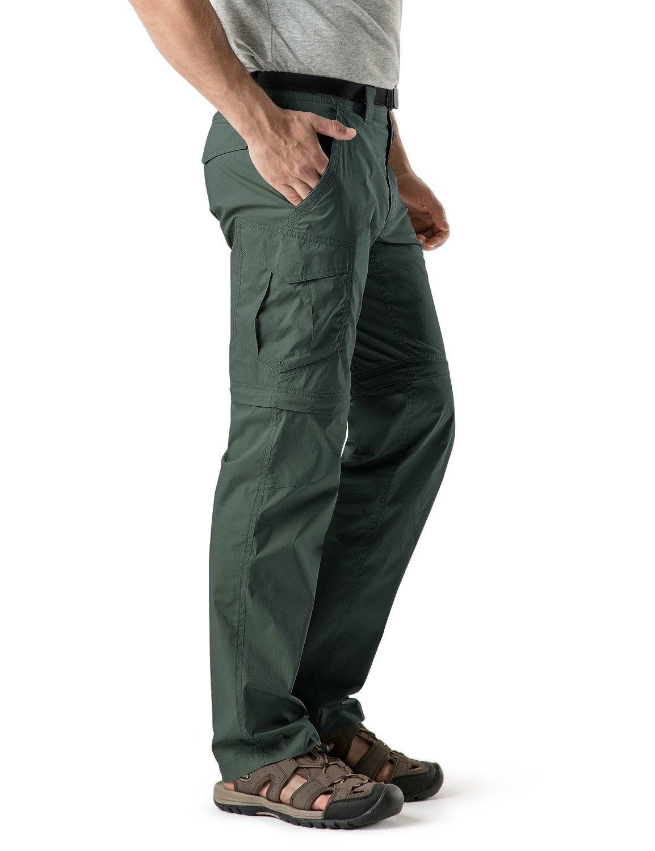 CQR CQ-TXP402-GRN_32W/30L Men's Convertible Pants Zipp Off Stretch Durable UPF 50+ Quick Dry Cargo Shorts Trousers TXP402 by CQR (Image #2)