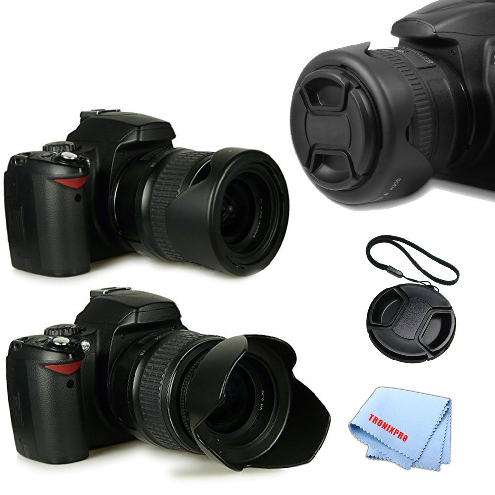 Tronixpro 58 mmハードチューリップリバーシブルレンズフードキットfor Canon 70d、5d、5ds, 5dii, 5diii 50d、60d、7d, 7dii, 80d、5ds R、センターピンチレンズキャップ、レンズキャップキーパー&マイクロファイバー布   B01HTYJE2E