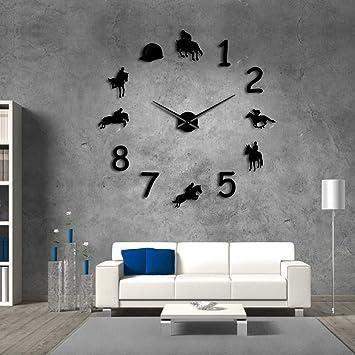QUTICL Reloj De Pared Grande Masía Decoracion Vaqueros Diseño Moderno Reloj De Pared Gigante Rodeo Equitación Diy Pared Negro 37 Pulg.: Amazon.es: Hogar