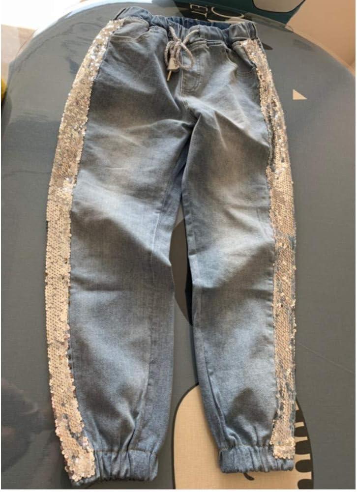 KBCJUA Ins Mode Pailletten Side Jeans Vrouwen Losse Elastische Taille Casual Bunch Voet Big Code Harlan Broek Plus Size Jeans Lente Herfst Blauw