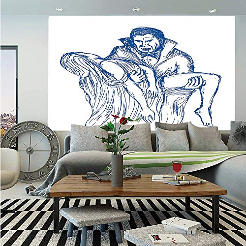SoSung Vampire Wall Mural,Count Dracula in Cape Carrying His Prey Victim Woman Sketchy Halloween Artwork,Self-Adhesive Large Wallpaper for Home Decor 55x78 inches,Blue and White -
