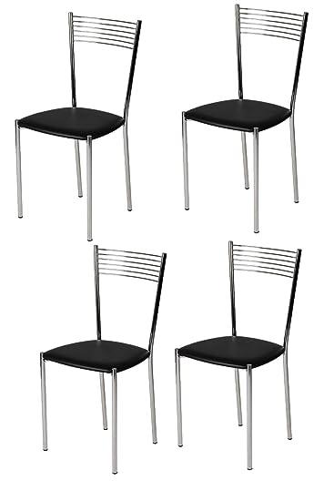 Tommychairs Set 4 sedie Moderne e di Design Elegance per Cucina Bar Salotto  e Sala da Pranzo, Robusta Struttura in Acciaio Cromato e Seduta Imbottita  ...