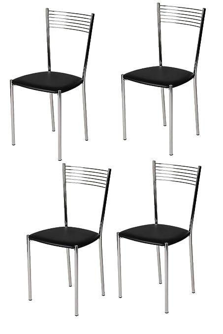 Pack de 4 sillas elegantes metalicas y cromada, ideal para eventos, comedor, hoteles.