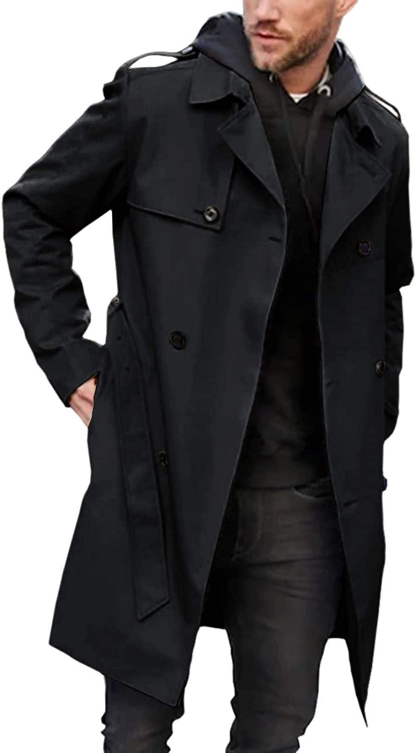 Mens Trench Coat Slim Fit Double Breasted Lapel Fall Long Windbreaker Jacket with Belt