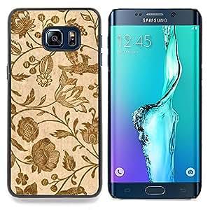 For Samsung Galaxy S6 Edge Plus - Wallpaper Vintage Retro Floral Blooms Brown /Modelo de la piel protectora de la cubierta del caso/ - Super Marley Shop -