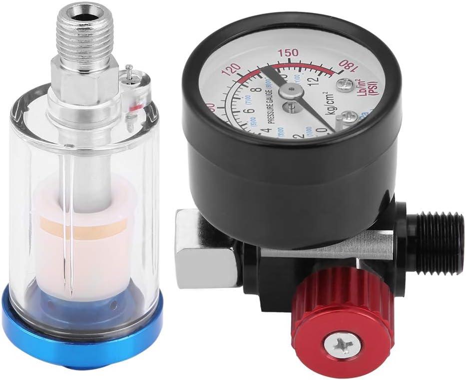 Manómetro Pulverizador de presión Pistola de pintura Regulador de aire neumático Calibrador de 1/4 hilo estándar para reparación automotriz, marina, construcción