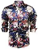 JINIDU Mens Floral Button Down Shirt Shiny Satin Silk Hip Hop Dance Prom Shirts