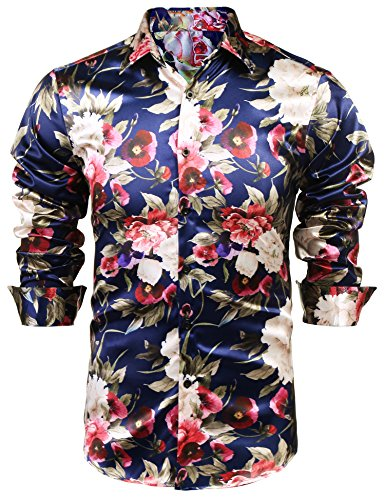 JINIDU Mens Floral Button Down Shirt Shiny Satin Silk Hip Hop Dance Prom (Man Fashion Silk)
