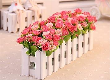Dreamingces Flor Artificial Valla Rosas Rojas Verdadero Toque Inicio
