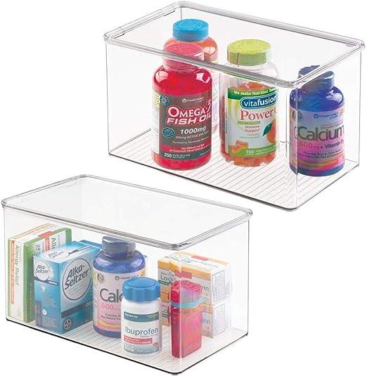 mDesign Juego de 2 cajas organizadoras extra grandes – Cajas de ...