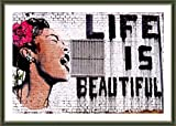 Alonline Art - Life Is Beautiful Banksy Green FRAMED POSTER (Print on 100% Cotton CANVAS on foam board) - READY TO HANG | 23''x16'' | Frame Oil Paintings Prints Framed Print Framed Artwork For Bedroom