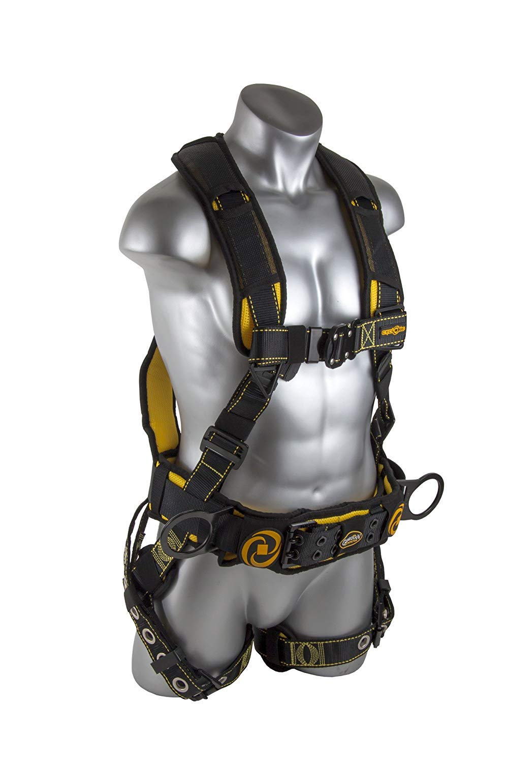 Guardian Fall Protection 21031 Cyclone Construction Harness with QC Chest/TB Leg/TB Waist Belt/Side D-Rings, Black/Yellow (2 Pack)