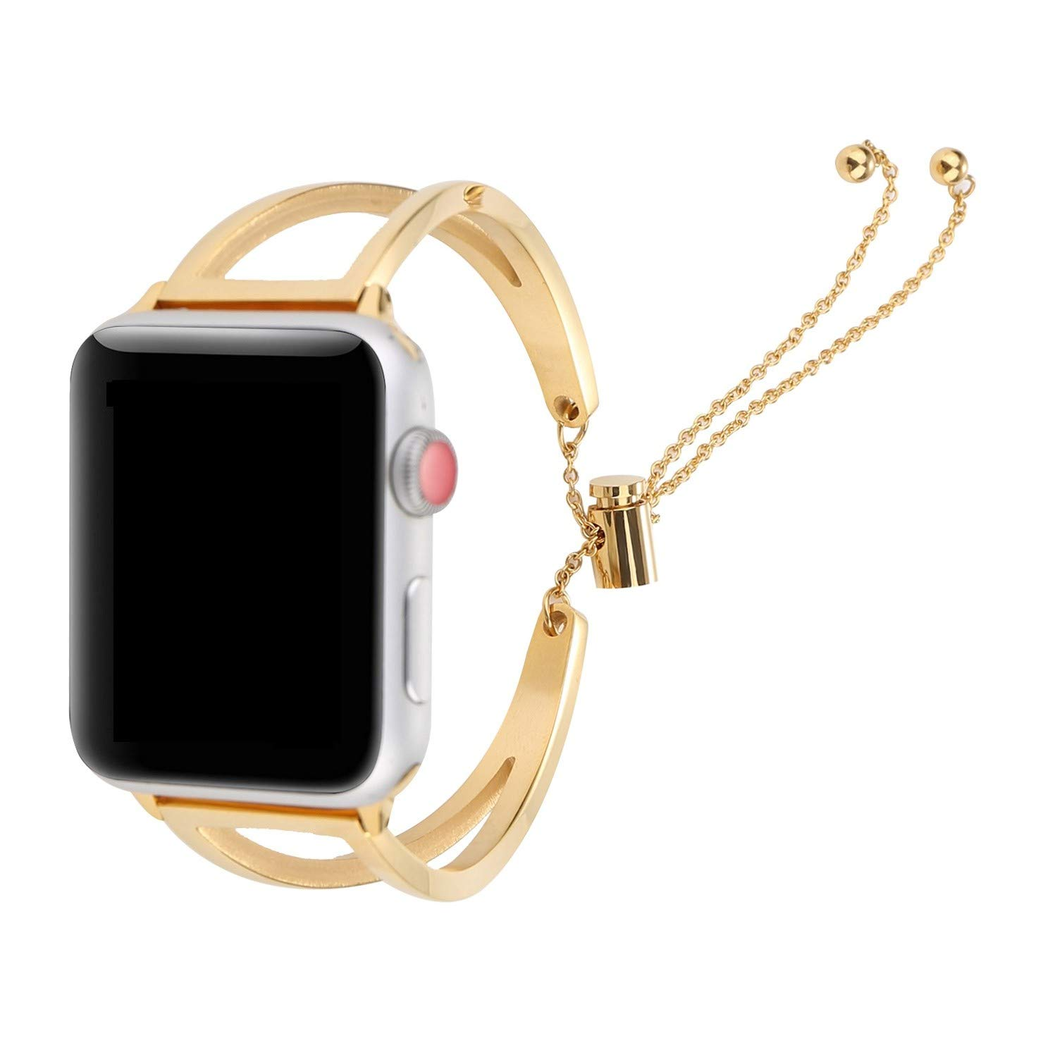 Juzzhou Band For Apple Watch iWatch Series 1/2/3 Edition Sport Stainless Steel Replacement Wristband Bracelet Wriststrap Watchband Wrist Guard Strap With Adapter Clasp For Woman Lady Girl Gold 38mm by Juzzhou (Image #1)