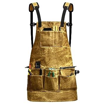 Fuloon delantal de herramientas, bolsillos portaherramientas, encerado, Equipo de soldadura, antisalpicaduras, ...