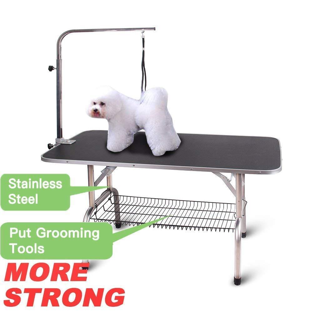 Polar Aurora Pingkay 48'' Black Heavy Duty Pet Professional Dog Show Foldable Grooming Table w/Adjustable Arm & Noose & Mesh Tray by Polar Aurora