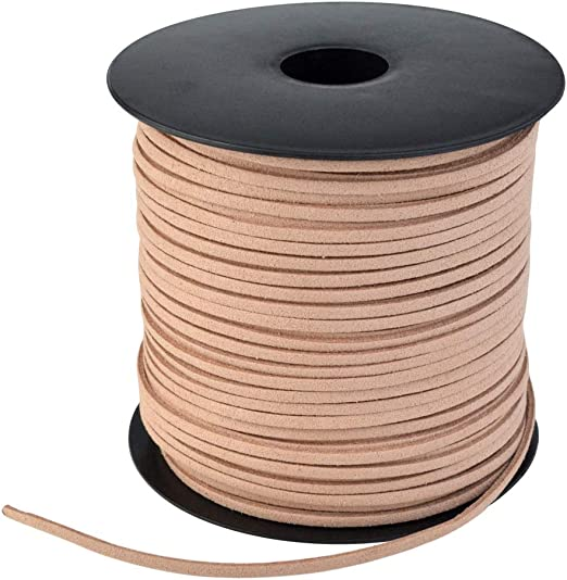 100 Yard Spool Flat Suede Leather Cord Lace Beading Craft Thread String for Beading Jewelry Crafts White