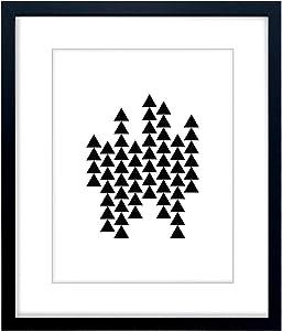 Triangles Pattern - Wall Decor Poster Print - Modern Geometric Design Fine Art Display (White, Framed)
