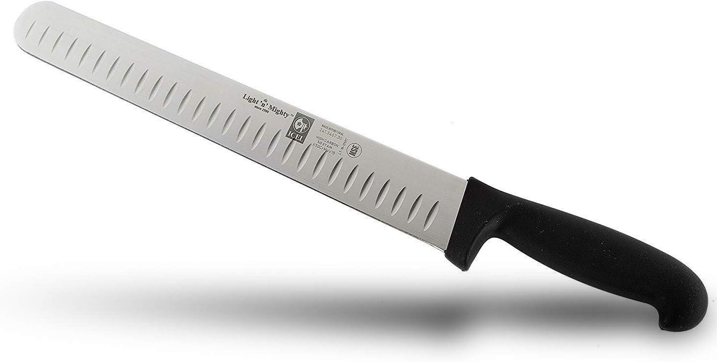 NSF certified 12-inch Granton Edge Meat Slicing Blade - Black Color Handle