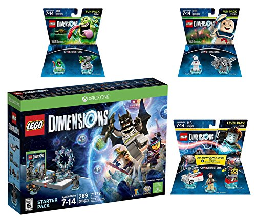 Lego Dimensions Ghostbusters Starter Pack + Peter Venkman Level Pack + Slimer + Stay Puft Fun Packs for Xbox One or Xbox One S Console by WB Lego
