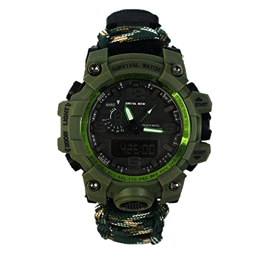 Amazon.com: Outdoor Survival Watch-Vovomay Bracelet with Flint Fire Starter Compass Whistle (E): Cell Phones & Accessories