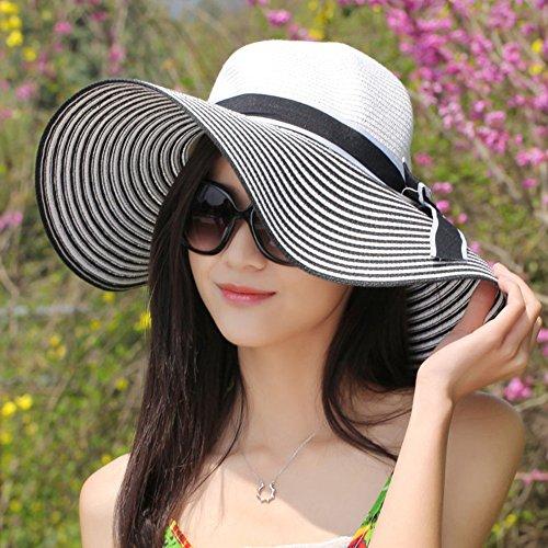 Chapeau de soleil d'été Été féminin Anti-UV Ombre Grandes corniches chapeau de paille Pliable chapeau de soleil Crème solaire Chapeau de plage Pour les voyages de plage sortants