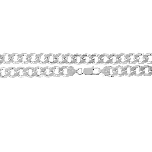 0a41c7588939 De 9 mm de plata de Ley de 925. Miami cebolla cadena de eslabones de la  pulsera o collar