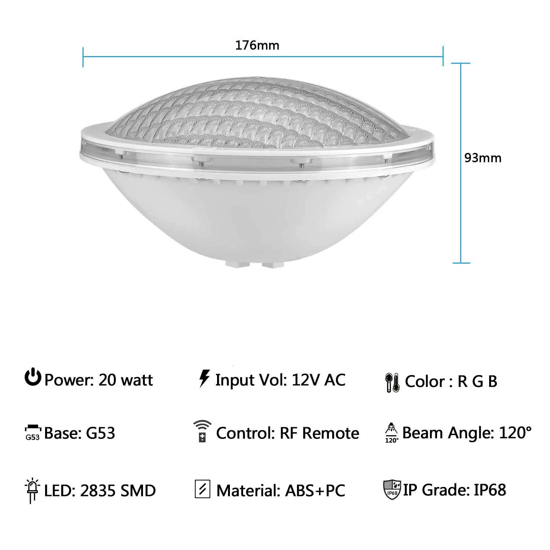 LyLmLe Lampe Piscine PAR56 20W Spot Piscine RGB avec T/él/écommande,Multicolore LED Submersible IP68 Etanche 12V DC//AC