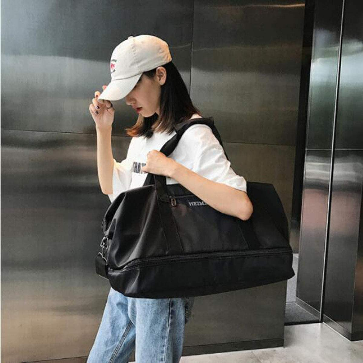 Business Fashion Casual Fashion Bag Black Size: 452428cm Travel Duffel Bag for Men and Women 2018 Practical Travel Bag ZHICHUANG Fitness Bag