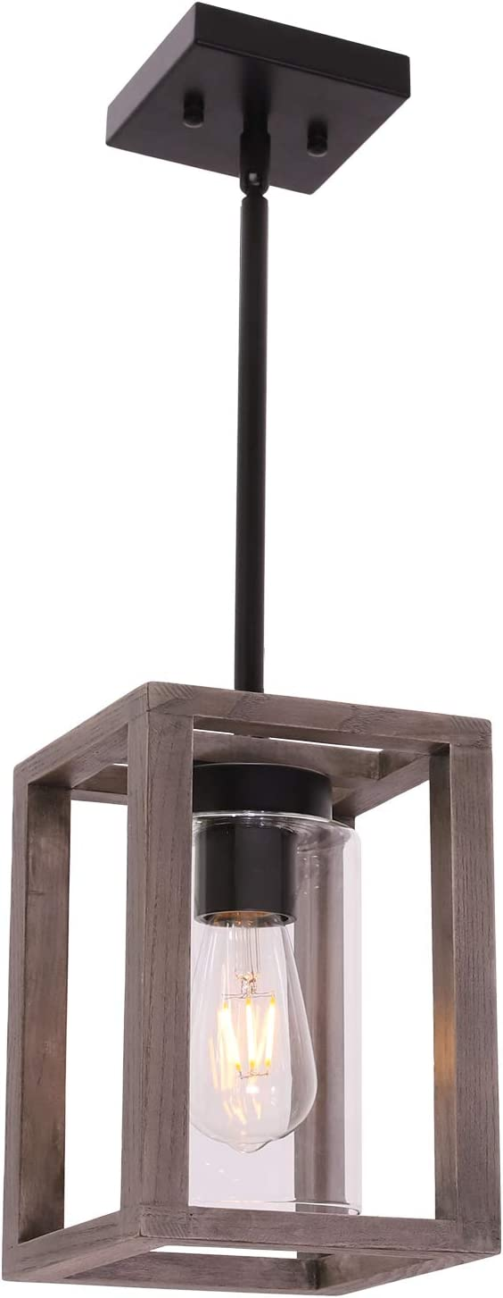 Farmhouse Pendant Lighting With Black Wood Accents
