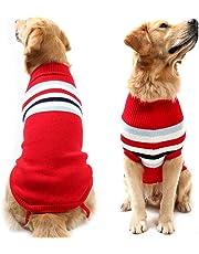 Didog Dog Classic Style Stripes Turtleneck Sweater Winter Warm Clothing for Medium and Large Dog