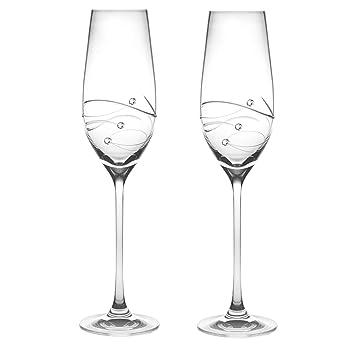 BARSKI 7 oz Swarovski Diamonds Handmade Flute Champagne Glass