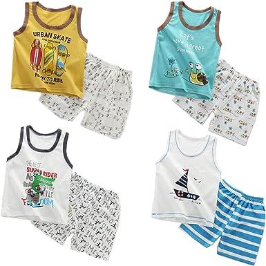 XM-Amigo 8 Paquetes de Chalecos sin Mangas para niños, Camisetas sin Mangas, Camisetas sin Mangas, Pantalones Cortos, Conjuntos de Ropa, Edad 3-4 años (Altura Recomendada del niño:100-110 cm): Amazon.es: Ropa y accesorios