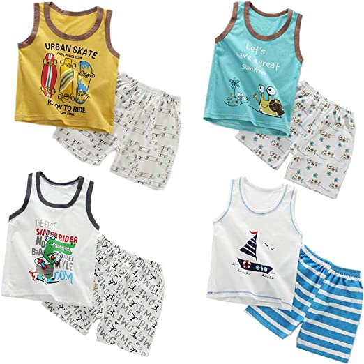 6 Months-5 Years XM-Amigo 8 Pack of Boys Or Baby Boys Sleeveless T-Shirt Vest Tops Shorts Pants Outfits Clothes Sets,Age