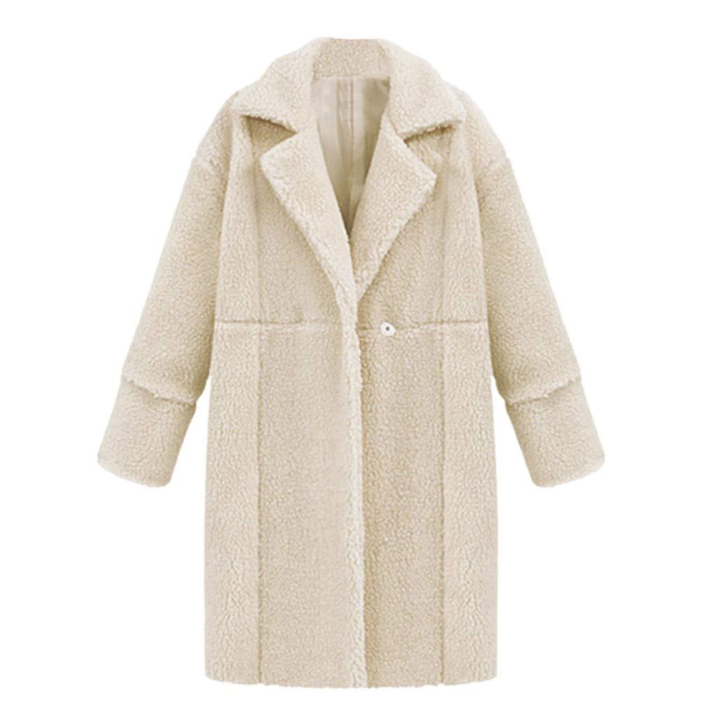 HOSOME Women Winter Solid Jacket Lapel Long Sleeve Plush Pocket Long Coat White