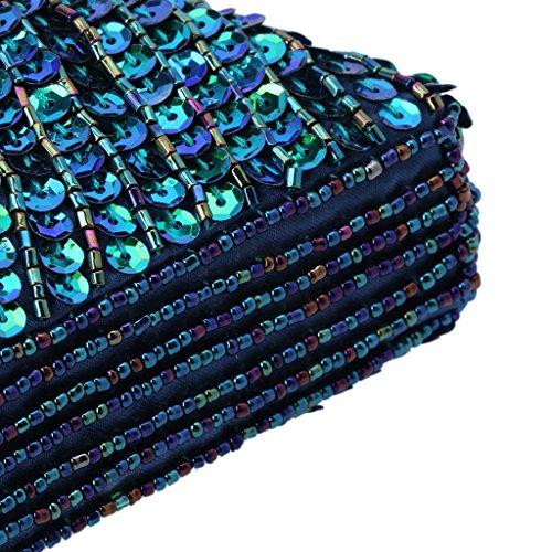 Bolso Cuentas Estilo Lentejuelas De Azul De Mujeres Tarde Del Real Azul Del De De Del Pavo Jagenie Del La Embrague Partido La Boda De Bolsa Baile Hwqx1EIpE