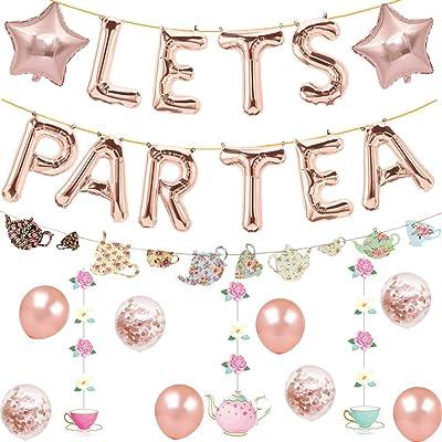 Let's Par Tea Balloons Tea for Two Banner Teapot Teacups High Tea Theme Bridal Shower Engagement Bachelorette Party Supplies Decorations Photo Prop: Toys & Games