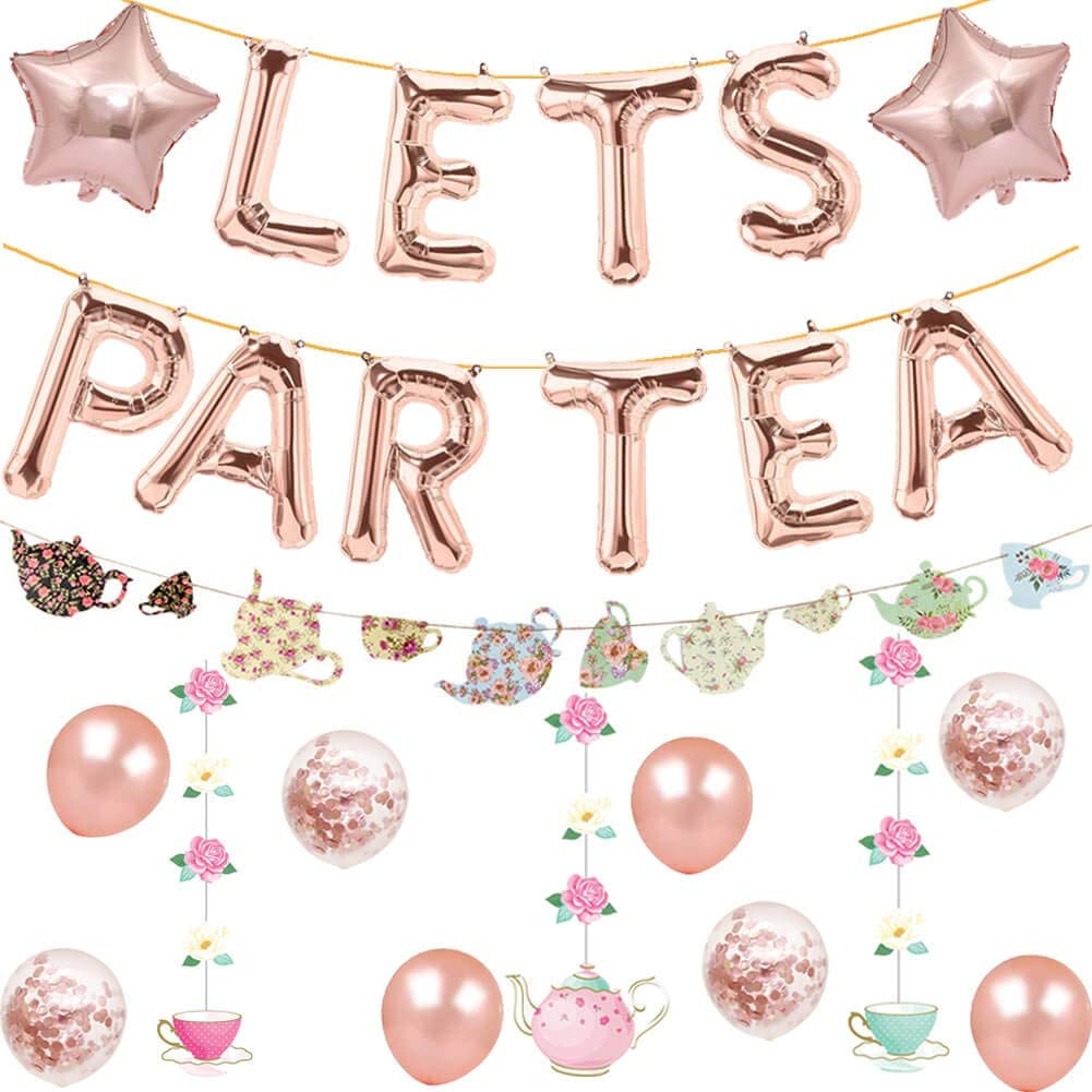 Let's Par Tea Balloons Tea for Two Banner Teapot Teacups High Tea Theme Bridal Shower Engagement Bachelorette Party Supplies Decorations Photo Prop